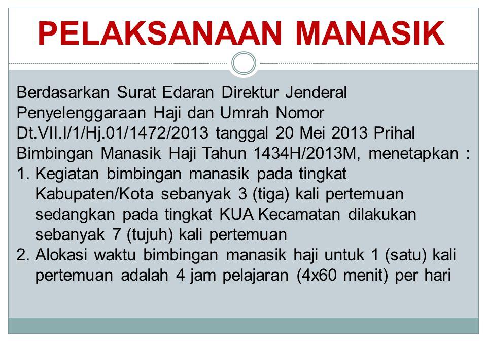PELAKSANAAN MANASIK Berdasarkan Surat Edaran Direktur Jenderal Penyelenggaraan Haji dan Umrah Nomor Dt.VII.I/1/Hj.01/1472/2013 tanggal 20 Mei 2013 Pri