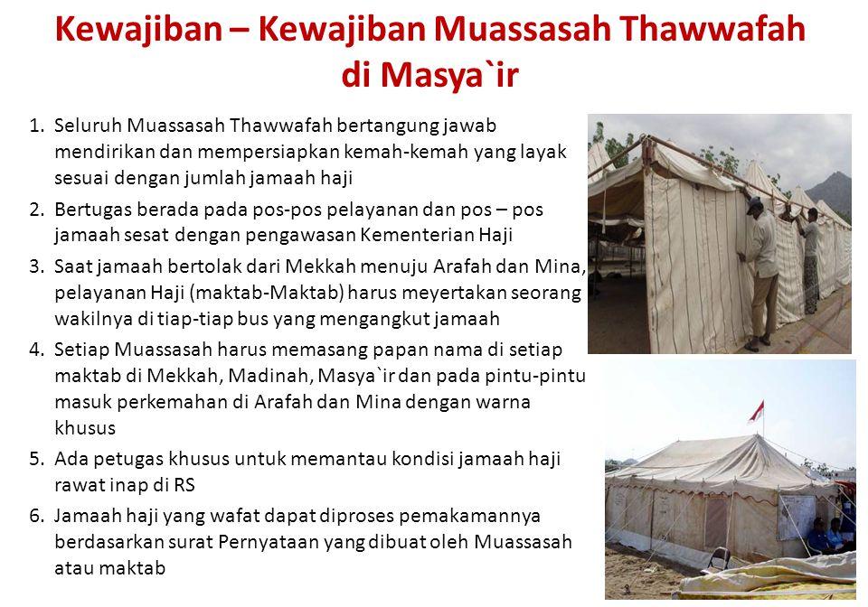 Kewajiban – Kewajiban Muassasah Thawwafah di Masya`ir 1.Seluruh Muassasah Thawwafah bertangung jawab mendirikan dan mempersiapkan kemah-kemah yang lay
