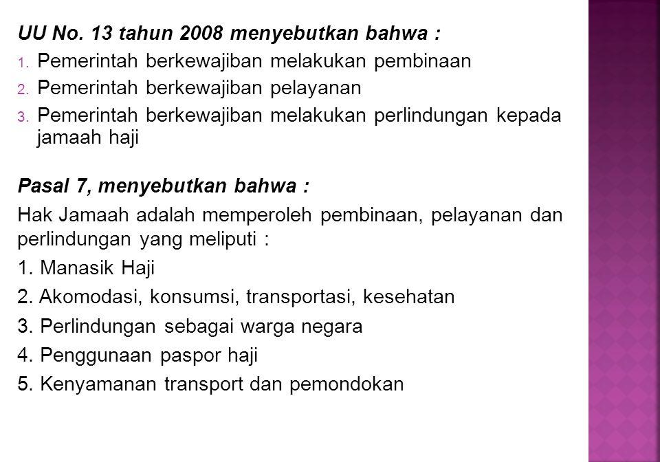 UU No. 13 tahun 2008 menyebutkan bahwa : 1. Pemerintah berkewajiban melakukan pembinaan 2. Pemerintah berkewajiban pelayanan 3. Pemerintah berkewajiba