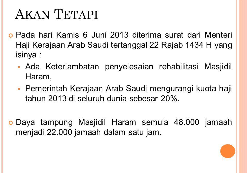 A KAN T ETAPI Pada hari Kamis 6 Juni 2013 diterima surat dari Menteri Haji Kerajaan Arab Saudi tertanggal 22 Rajab 1434 H yang isinya :  Ada Keterlam
