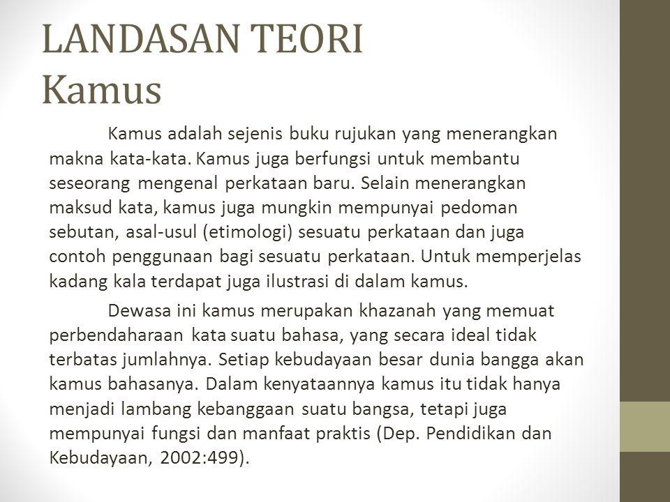 LANDASAN TEORI Kamus Kamus adalah sejenis buku rujukan yang menerangkan makna kata-kata. Kamus juga berfungsi untuk membantu seseorang mengenal perkat