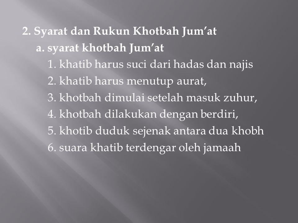 2. Syarat dan Rukun Khotbah Jum'at a. syarat khotbah Jum'at 1.