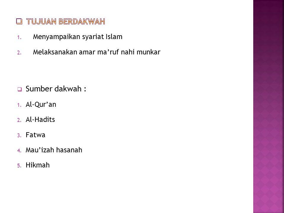 1. Menyampaikan syariat Islam 2. Melaksanakan amar ma'ruf nahi munkar  Sumber dakwah : 1. Al-Qur'an 2. Al-Hadits 3. Fatwa 4. Mau'izah hasanah 5. Hikm