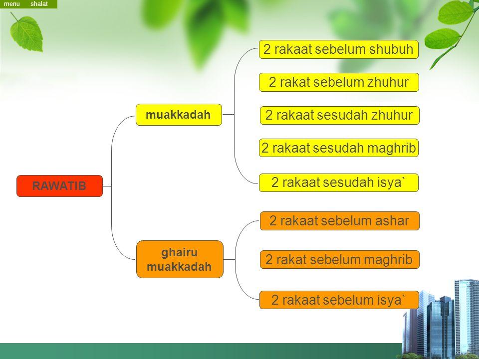 Shalat Sunnah menu rawatib tarawih tahajjud menu dhuha `ied istikharah istisqa gerhana tasbih shalat