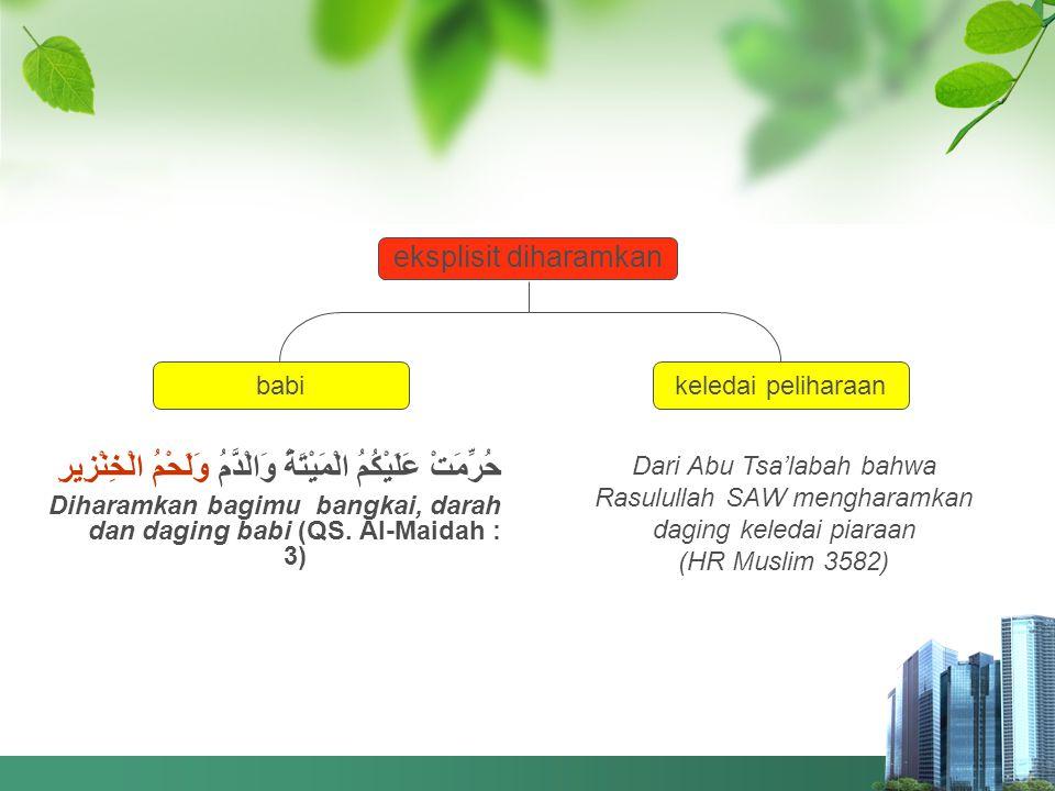 Hewan Haram Dimakan 1.eksplisit diharamkan 2. bangkai 3.
