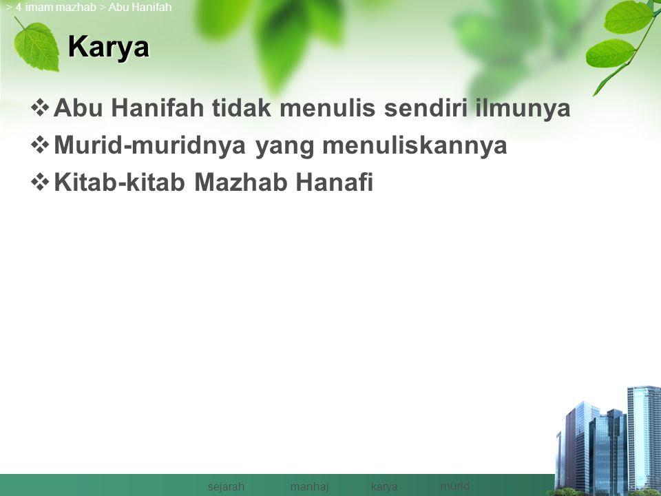 Murid  Abu Yusuf (118-132 H)  Muhammad (132-189 H)  Zufar (110-158 H)  Al-Hasan bin Ziyad (204 H) > Abu Hanifah > 4 imam mazhab sejarahmanhajkarya murid