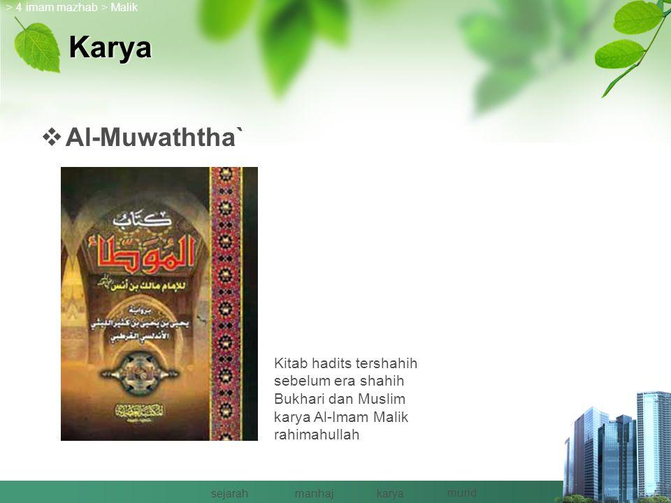 Murid > 4 imam mazhab > Malik sejarahmanhajkarya murid Al-Imam Malik Mesir MaghribHijaz & Iraq 1.Abu Abdullah 191 H 2.Abu Muhammad 125 – 197 H 3.Ashab