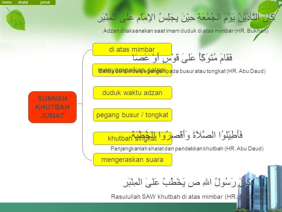menu RUKUN KHUTBAH JUMAT hamdalah shalawat Nabi washiyat taqwa baca sebagian Quran doa buat mukminin jumat khutbah 1 -2 khutbah 1 khutbah 2 shalat