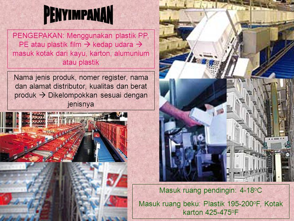 Nama jenis produk, nomer register, nama dan alamat distributor, kualitas dan berat produk  Dikelompokkan sesuai dengan jenisnya PENGEPAKAN: Menggunak