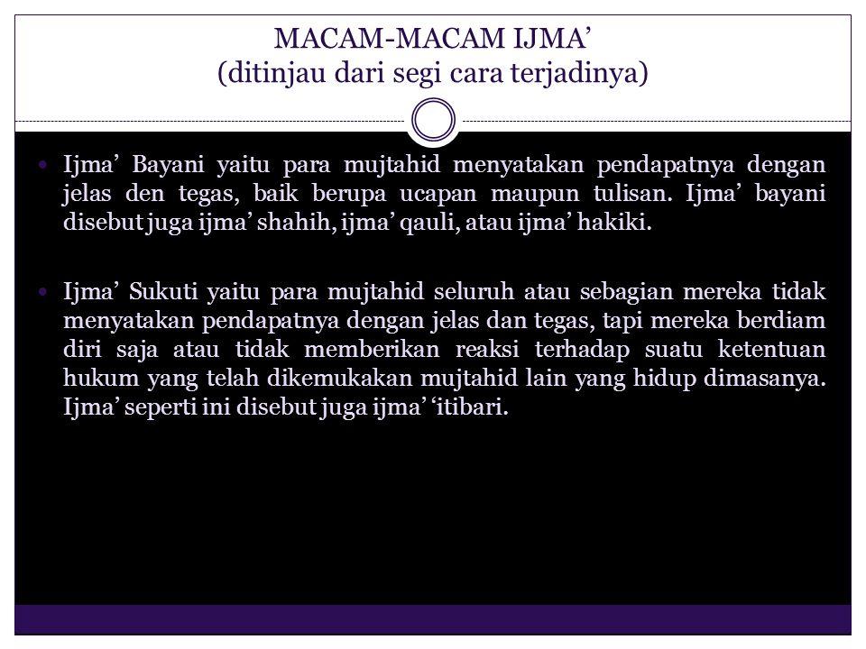 MACAM-MACAM IJMA' [ditinjau dari masa terjadinya (1)] Ijma' Sahabat, yaitu ijma' yang dilakukan oleh para Sahabat Rasulullah saw Ijma' Khulafaurrasyiin, yaitu ijma' yang dilakukan oleh Khalifah Abu Bakar, Umar, Utsman, dan Ali.