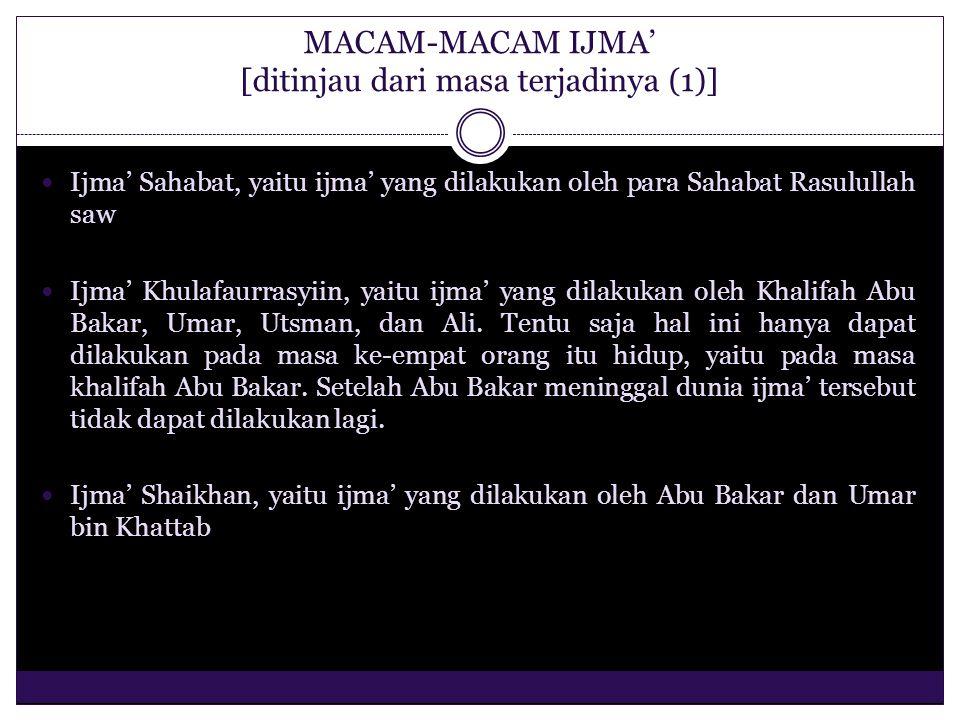 MACAM-MACAM IJMA' [ditinjau dari masa terjadinya (1)] Ijma' Sahabat, yaitu ijma' yang dilakukan oleh para Sahabat Rasulullah saw Ijma' Khulafaurrasyii
