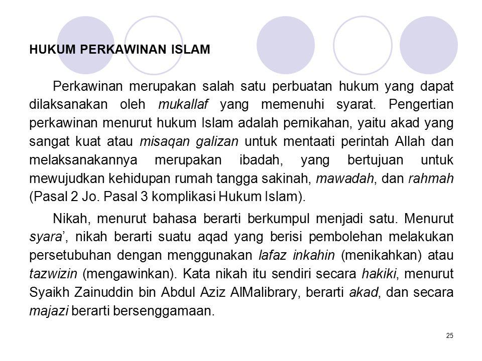 25 HUKUM PERKAWINAN ISLAM Perkawinan merupakan salah satu perbuatan hukum yang dapat dilaksanakan oleh mukallaf yang memenuhi syarat. Pengertian perka