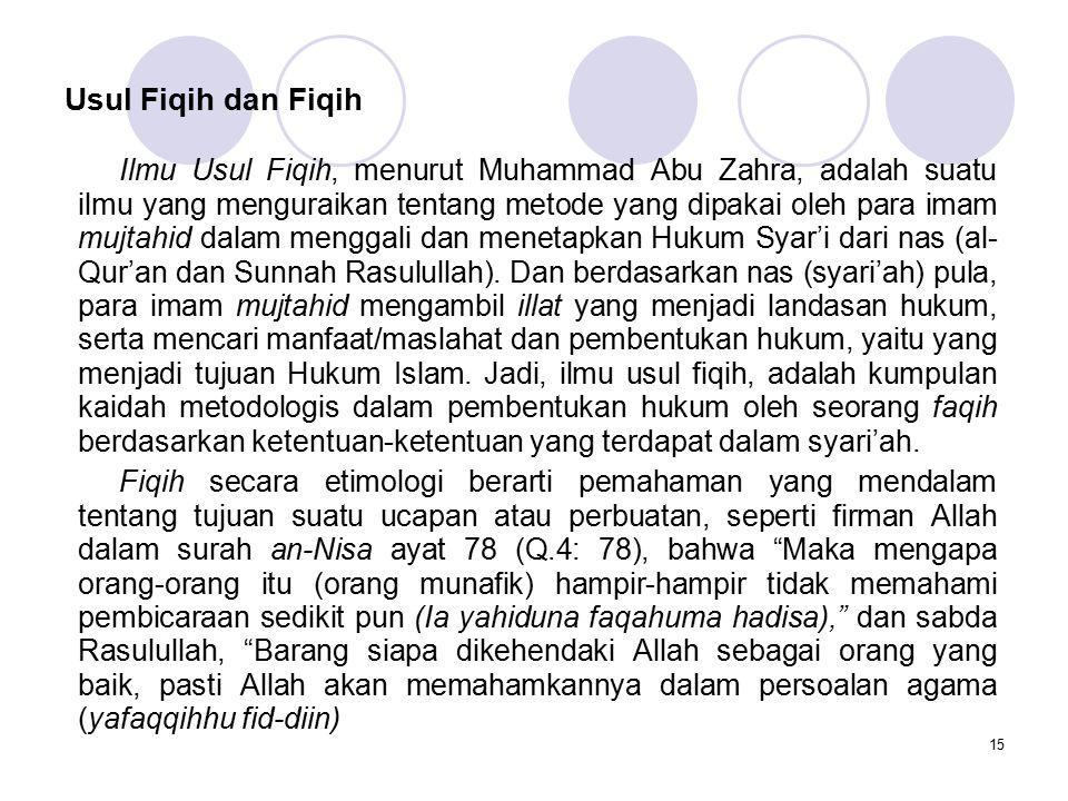 15 Usul Fiqih dan Fiqih Ilmu Usul Fiqih, menurut Muhammad Abu Zahra, adalah suatu ilmu yang menguraikan tentang metode yang dipakai oleh para imam muj