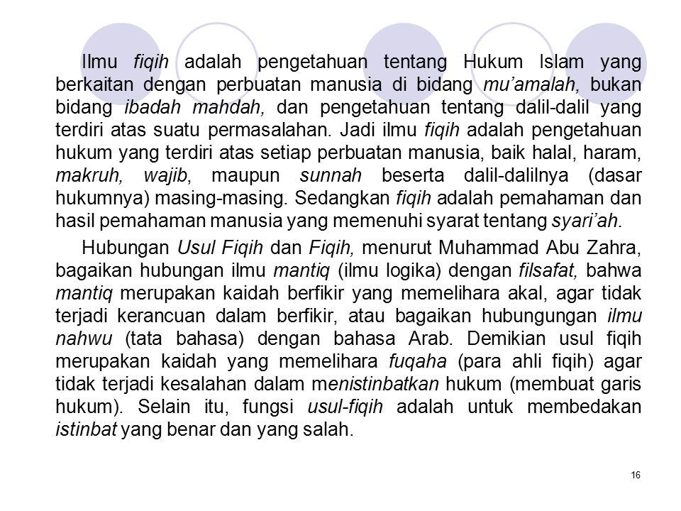 16 Ilmu fiqih adalah pengetahuan tentang Hukum Islam yang berkaitan dengan perbuatan manusia di bidang mu'amalah, bukan bidang ibadah mahdah, dan peng