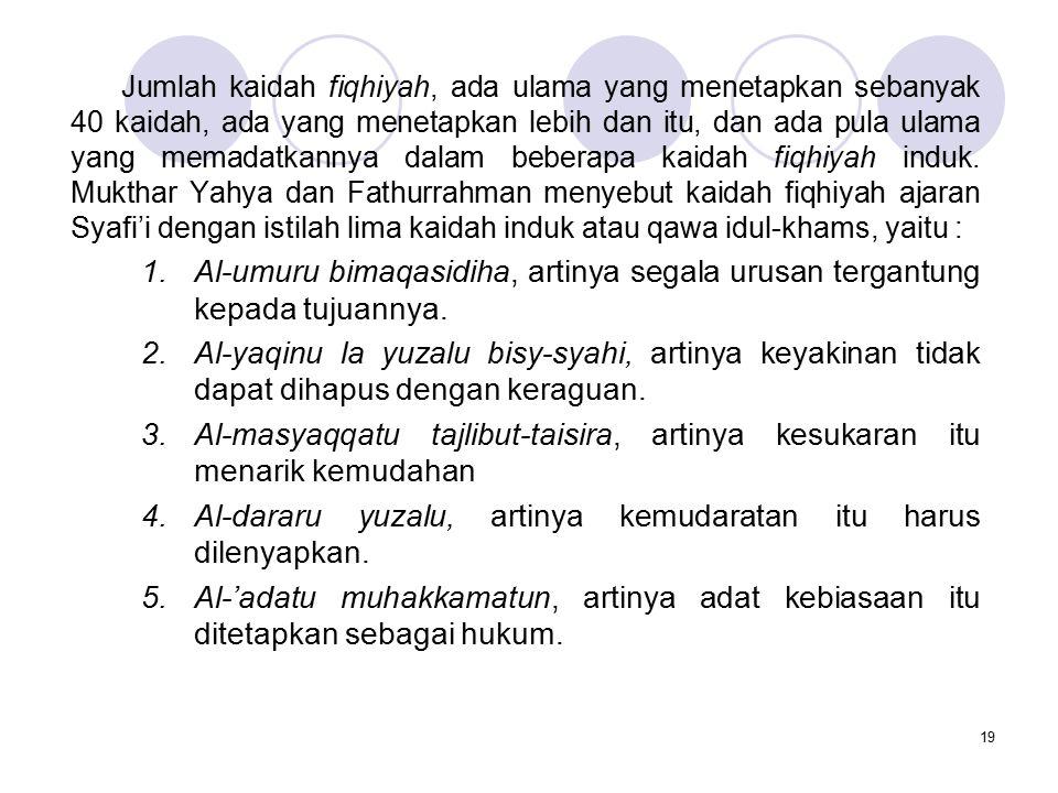 20 Syaikh Izzudin bin Abdus-Salam berpendapat bahwa segala masalah fiqhiyah dikembalikan kepada dua kaidah induk, yaitu: 1.