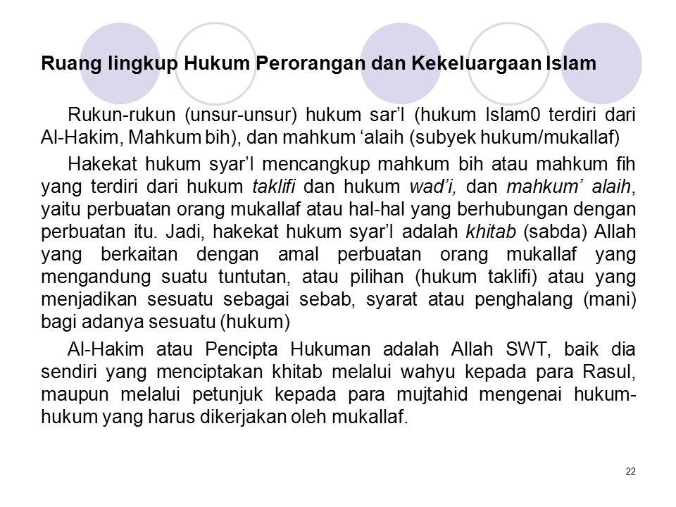 22 Ruang lingkup Hukum Perorangan dan Kekeluargaan Islam Rukun-rukun (unsur-unsur) hukum sar'I (hukum Islam0 terdiri dari Al-Hakim, Mahkum bih), dan m