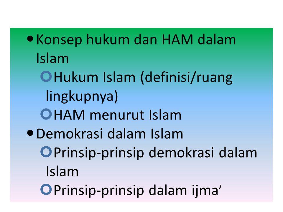 Hukum, HAM, dan Demokrasi dalam Islam BY; FIRNAWIDA,M.Pd.I