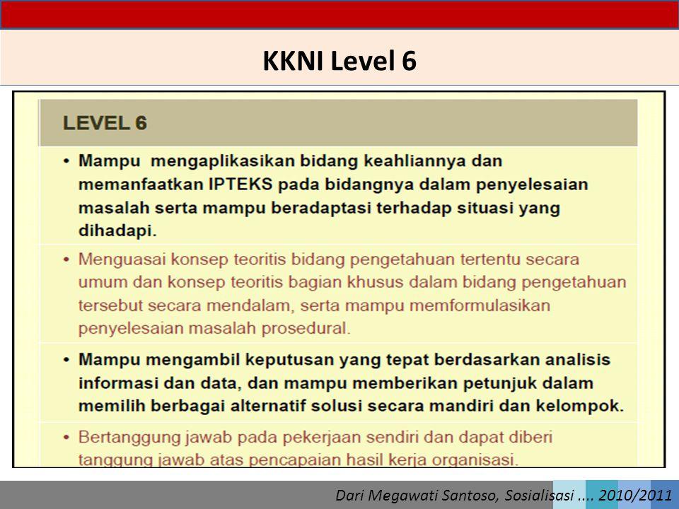 KKNI Level 6 Dari Megawati Santoso, Sosialisasi.... 2010/2011