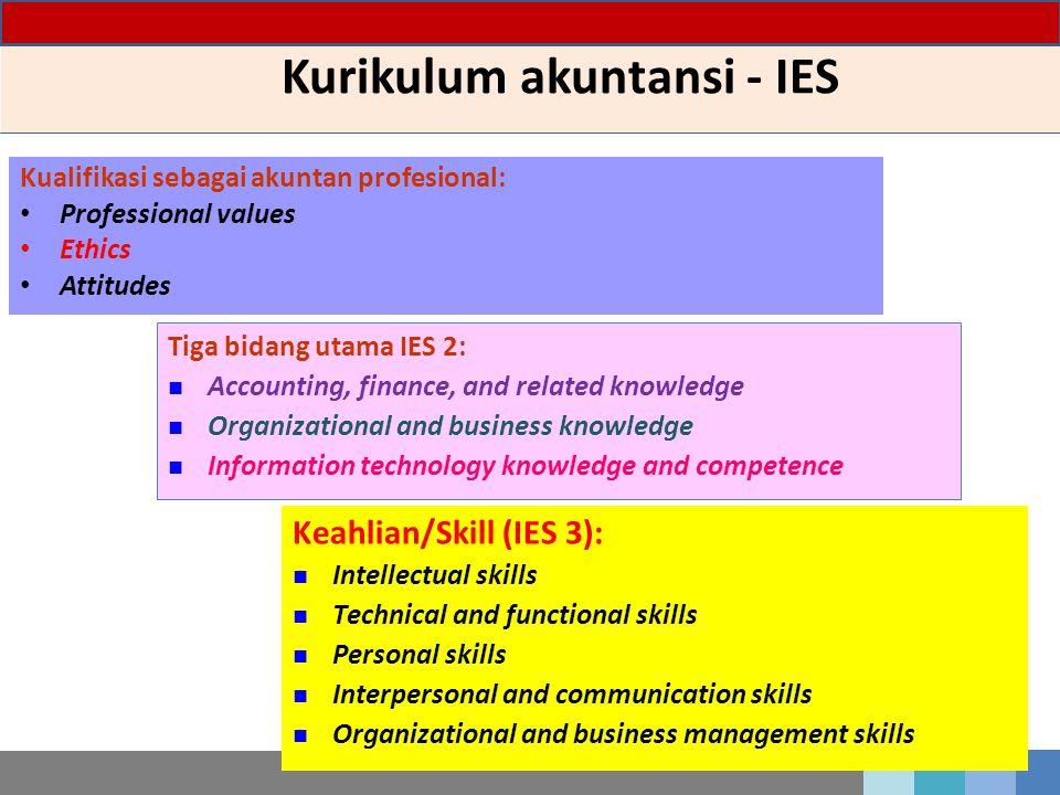 Kurikulum akuntansi - IES Kualifikasi sebagai akuntan profesional: Professional values Ethics Attitudes Tiga bidang utama IES 2: Accounting, finance,