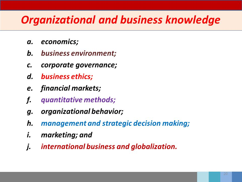 20 Organizational and business knowledge a.economics; b.business environment; c.corporate governance; d.business ethics; e.financial markets; f.quanti