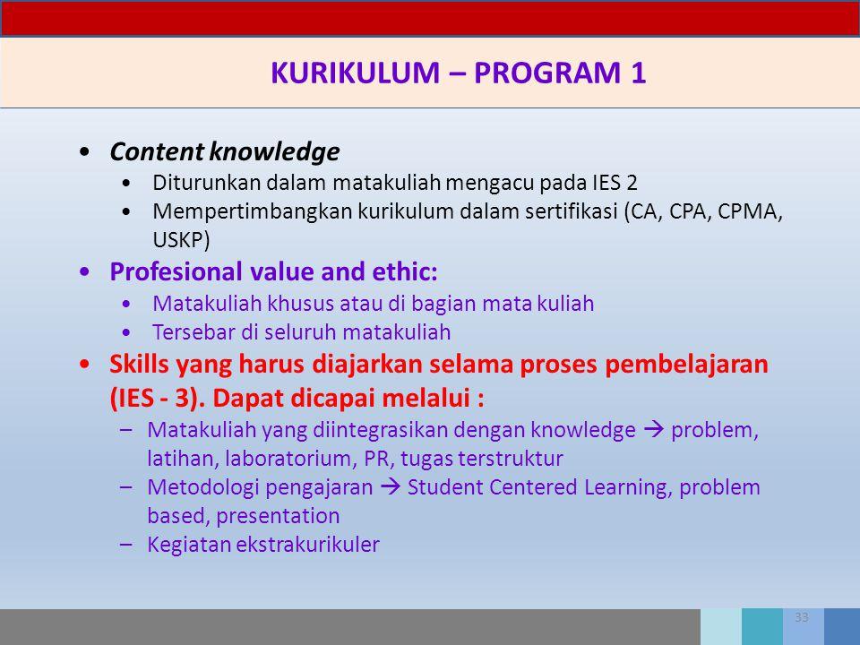 33 KURIKULUM – PROGRAM 1 Content knowledge Diturunkan dalam matakuliah mengacu pada IES 2 Mempertimbangkan kurikulum dalam sertifikasi (CA, CPA, CPMA,