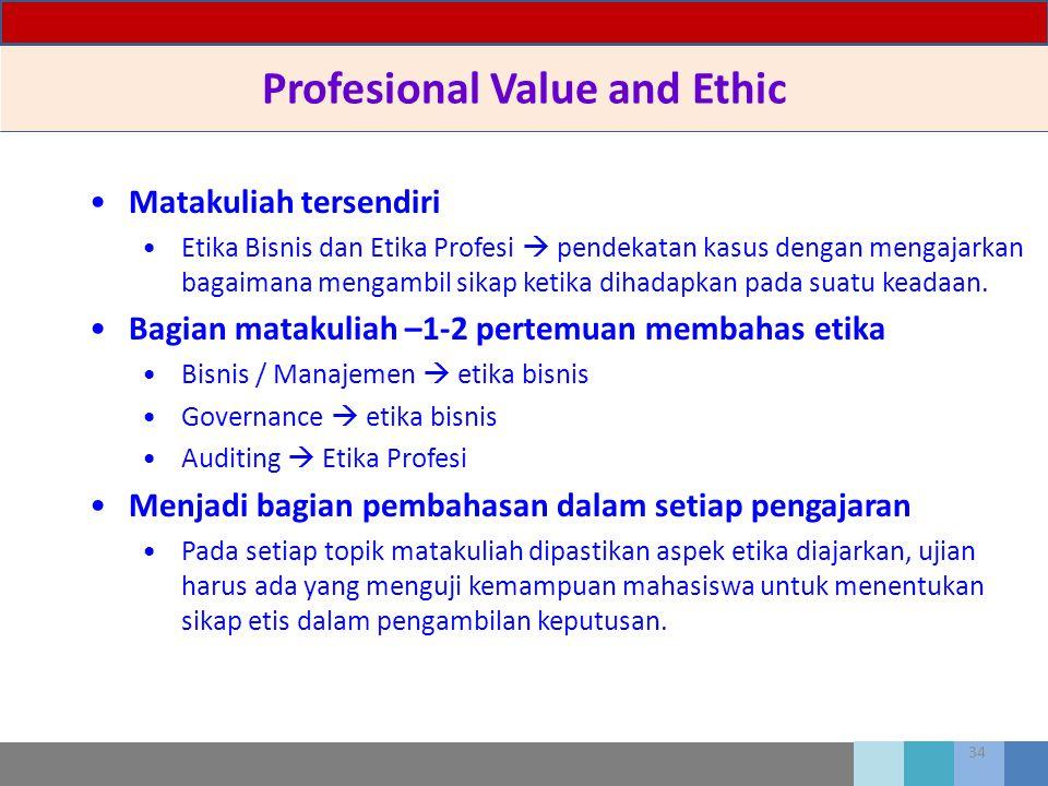 34 Profesional Value and Ethic Matakuliah tersendiri Etika Bisnis dan Etika Profesi  pendekatan kasus dengan mengajarkan bagaimana mengambil sikap ke