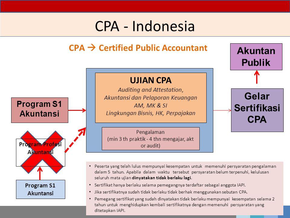 CPA - Indonesia 5 Program S1 Akuntansi UJIAN CPA Auditing and Attestation, Akuntansi dan Pelaporan Keuangan AM, MK & SI Lingkungan Bisnis, HK, Perpajakan Pengalaman (min 3 th praktik - 4 thn mengajar, akt or audit) Gelar Sertifikasi CPA CPA  Certified Public Accountant Program S1 Akuntansi Peserta yang telah lulus mempunyai kesempatan untuk memenuhi persyaratan pengalaman dalam 5 tahun.