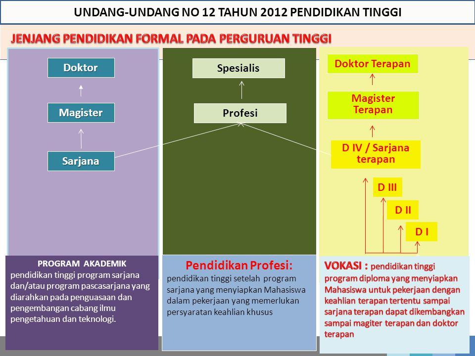 Magister Sarjana Doktor Pendidikan Profesi: pendidikan tinggi setelah program sarjana yang menyiapkan Mahasiswa dalam pekerjaan yang memerlukan persya