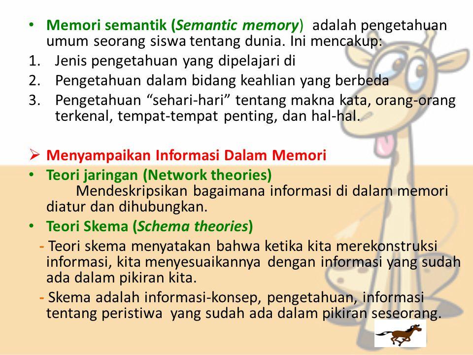 Memori semantik (Semantic memory) adalah pengetahuan umum seorang siswa tentang dunia.