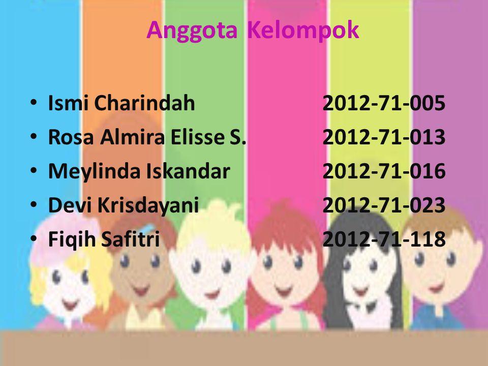 Anggota Kelompok Ismi Charindah 2012-71-005 Rosa Almira Elisse S.2012-71-013 Meylinda Iskandar2012-71-016 Devi Krisdayani2012-71-023 Fiqih Safitri 2012-71-118