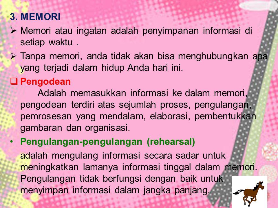 3. MEMORI  Memori atau ingatan adalah penyimpanan informasi di setiap waktu.