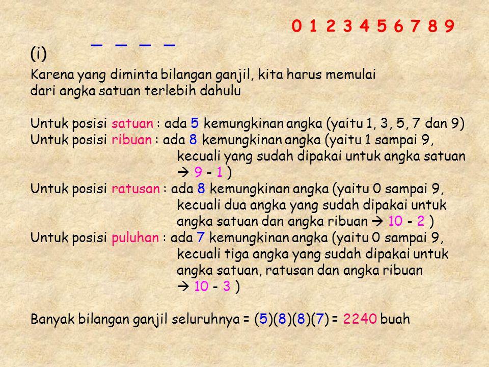 Karena yang diminta bilangan ganjil, kita harus memulai dari angka satuan terlebih dahulu Untuk posisi satuan : ada 5 kemungkinan angka (yaitu 1, 3, 5