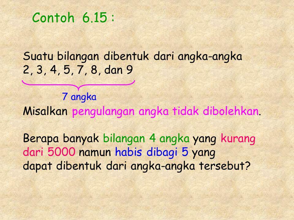 Contoh 6.15 : Suatu bilangan dibentuk dari angka-angka 2, 3, 4, 5, 7, 8, dan 9 Misalkan pengulangan angka tidak dibolehkan. Berapa banyak bilangan 4 a