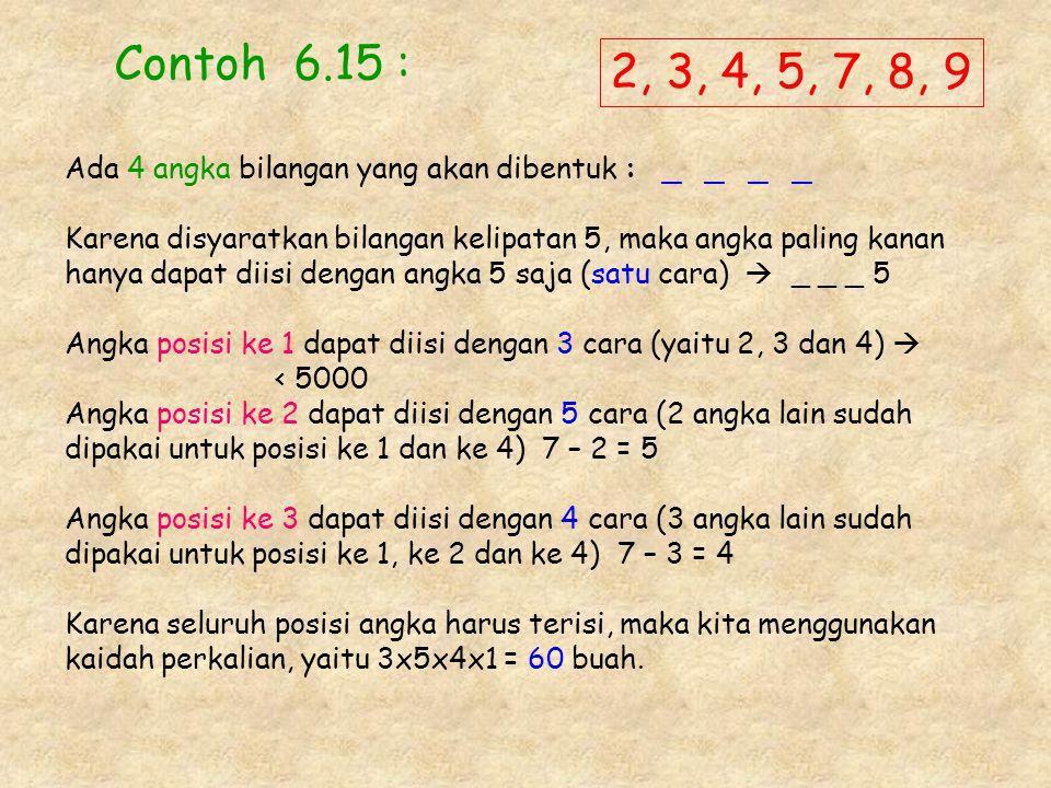 Contoh 6.15 : Ada 4 angka bilangan yang akan dibentuk : _ _ _ _ Karena disyaratkan bilangan kelipatan 5, maka angka paling kanan hanya dapat diisi den