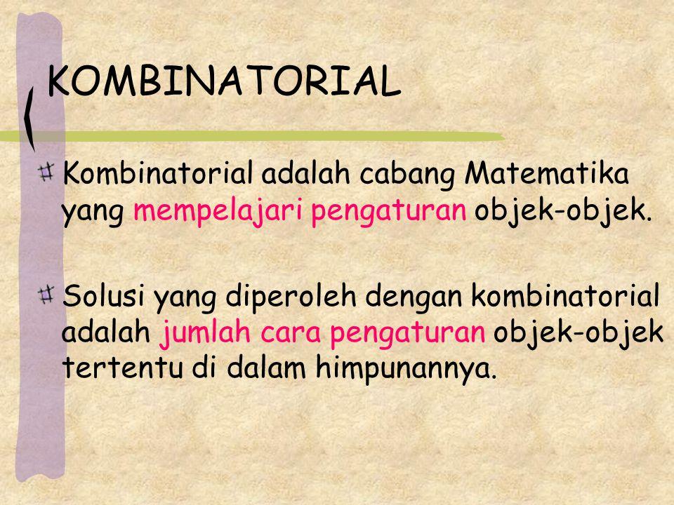 KOMBINATORIAL Kombinatorial adalah cabang Matematika yang mempelajari pengaturan objek-objek. Solusi yang diperoleh dengan kombinatorial adalah jumlah