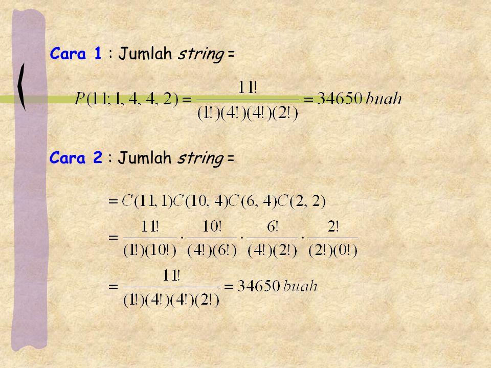 Cara 1 : Jumlah string = Cara 2 : Jumlah string =