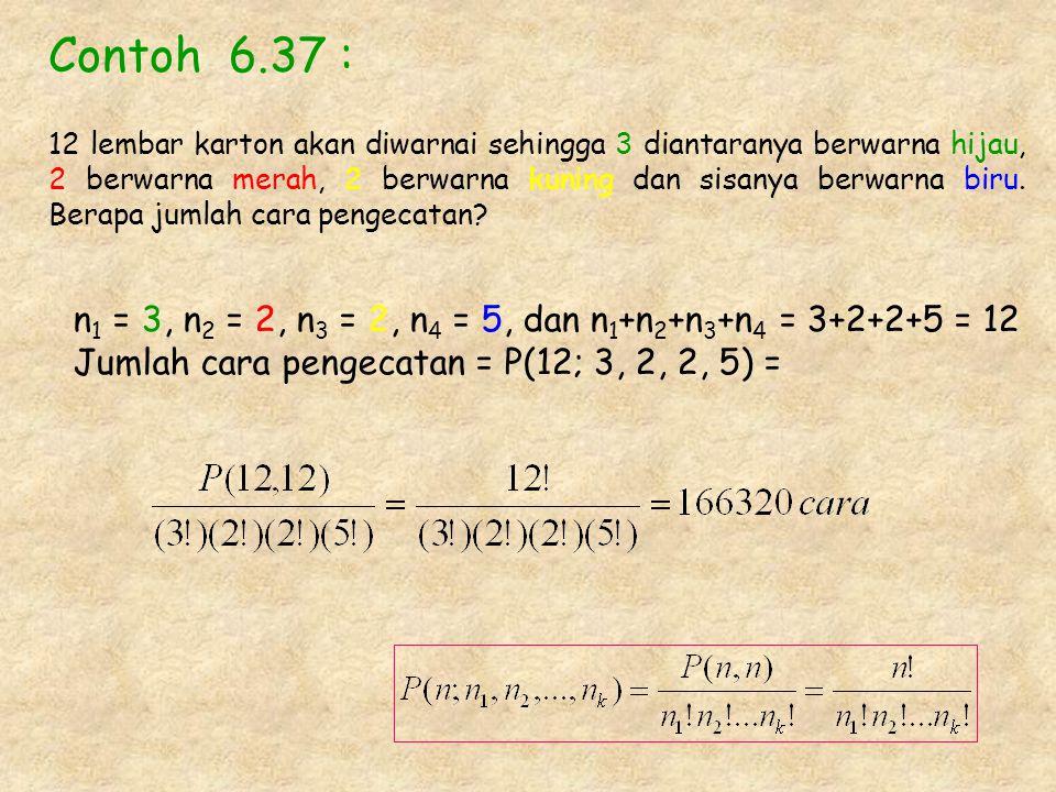 Contoh 6.37 : n 1 = 3, n 2 = 2, n 3 = 2, n 4 = 5, dan n 1 +n 2 +n 3 +n 4 = 3+2+2+5 = 12 Jumlah cara pengecatan = P(12; 3, 2, 2, 5) = 12 lembar karton