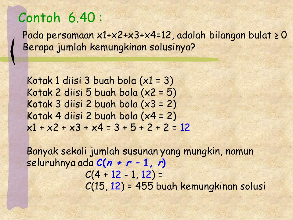 Contoh 6.40 : Pada persamaan x1+x2+x3+x4=12, adalah bilangan bulat ≥ 0 Berapa jumlah kemungkinan solusinya? Kotak 1 diisi 3 buah bola (x1 = 3) Kotak 2
