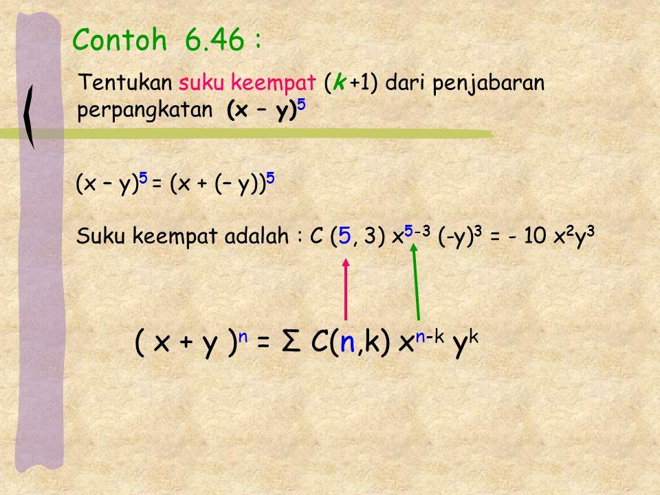 Contoh 6.46 : Tentukan suku keempat (k +1) dari penjabaran perpangkatan (x – y) 5 (x – y) 5 = (x + (– y)) 5 Suku keempat adalah : C (5, 3) x 5-3 (-y)