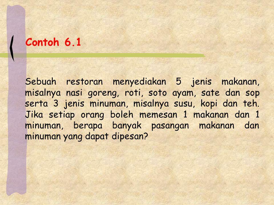 Contoh 6.1 Sebuah restoran menyediakan 5 jenis makanan, misalnya nasi goreng, roti, soto ayam, sate dan sop serta 3 jenis minuman, misalnya susu, kopi
