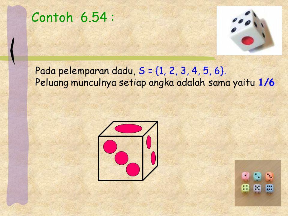 Contoh 6.54 : Pada pelemparan dadu, S = {1, 2, 3, 4, 5, 6}. Peluang munculnya setiap angka adalah sama yaitu 1/6