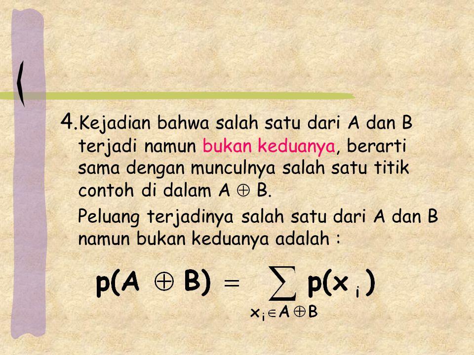 4. Kejadian bahwa salah satu dari A dan B terjadi namun bukan keduanya, berarti sama dengan munculnya salah satu titik contoh di dalam A  B. Peluang