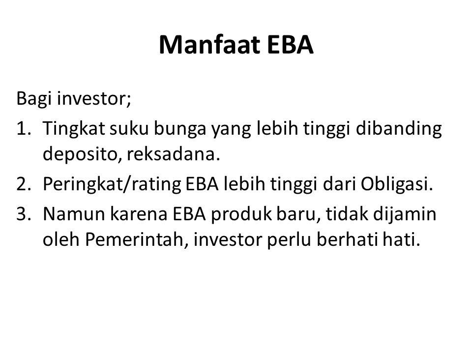 Manfaat EBA Bagi investor; 1.Tingkat suku bunga yang lebih tinggi dibanding deposito, reksadana.