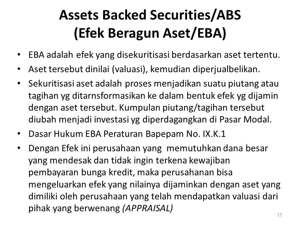 15 Assets Backed Securities/ABS (Efek Beragun Aset/EBA) EBA adalah efek yang disekuritisasi berdasarkan aset tertentu.