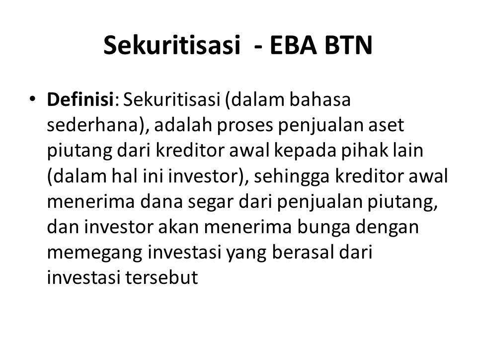 Sekuritisasi - EBA BTN Definisi: Sekuritisasi (dalam bahasa sederhana), adalah proses penjualan aset piutang dari kreditor awal kepada pihak lain (dalam hal ini investor), sehingga kreditor awal menerima dana segar dari penjualan piutang, dan investor akan menerima bunga dengan memegang investasi yang berasal dari investasi tersebut