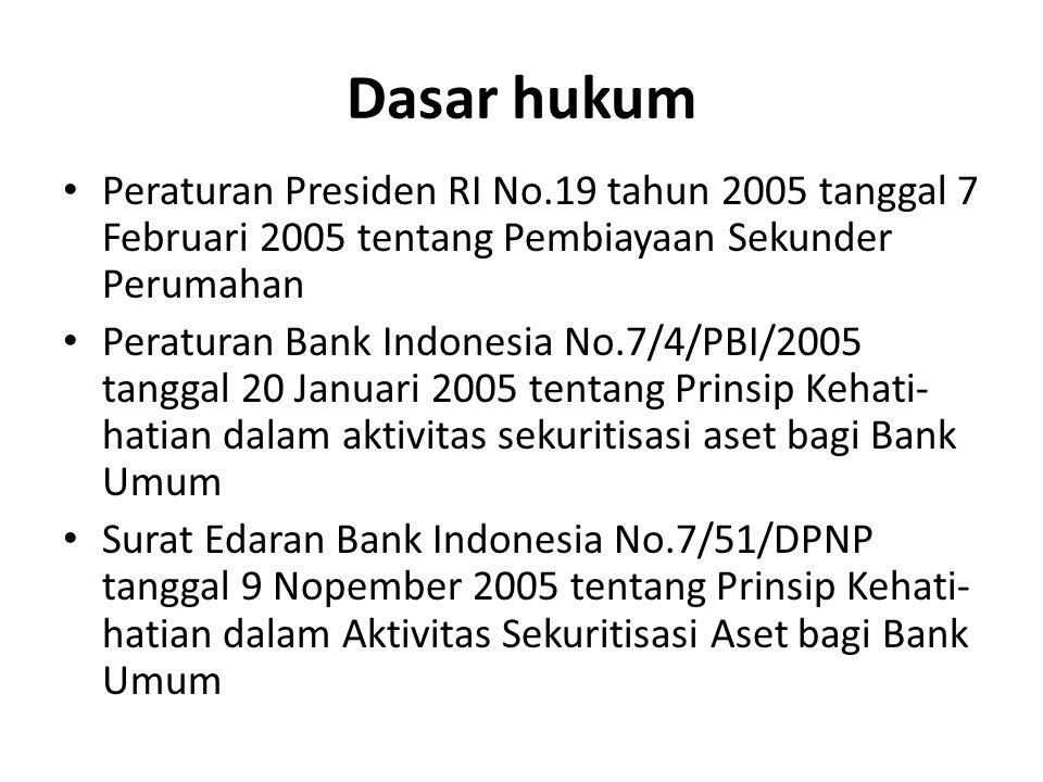 Dasar hukum Peraturan Presiden RI No.19 tahun 2005 tanggal 7 Februari 2005 tentang Pembiayaan Sekunder Perumahan Peraturan Bank Indonesia No.7/4/PBI/2005 tanggal 20 Januari 2005 tentang Prinsip Kehati- hatian dalam aktivitas sekuritisasi aset bagi Bank Umum Surat Edaran Bank Indonesia No.7/51/DPNP tanggal 9 Nopember 2005 tentang Prinsip Kehati- hatian dalam Aktivitas Sekuritisasi Aset bagi Bank Umum