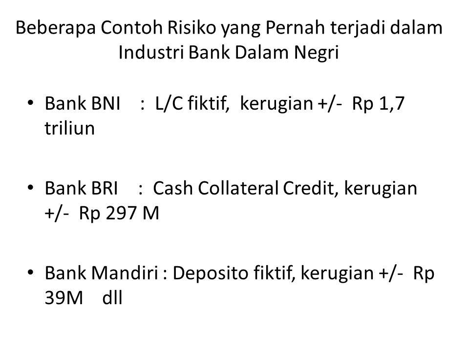 Beberapa Contoh Risiko yang Pernah terjadi dalam Industri Bank Dalam Negri Bank BNI : L/C fiktif, kerugian +/- Rp 1,7 triliun Bank BRI : Cash Collateral Credit, kerugian +/- Rp 297 M Bank Mandiri : Deposito fiktif, kerugian +/- Rp 39M dll