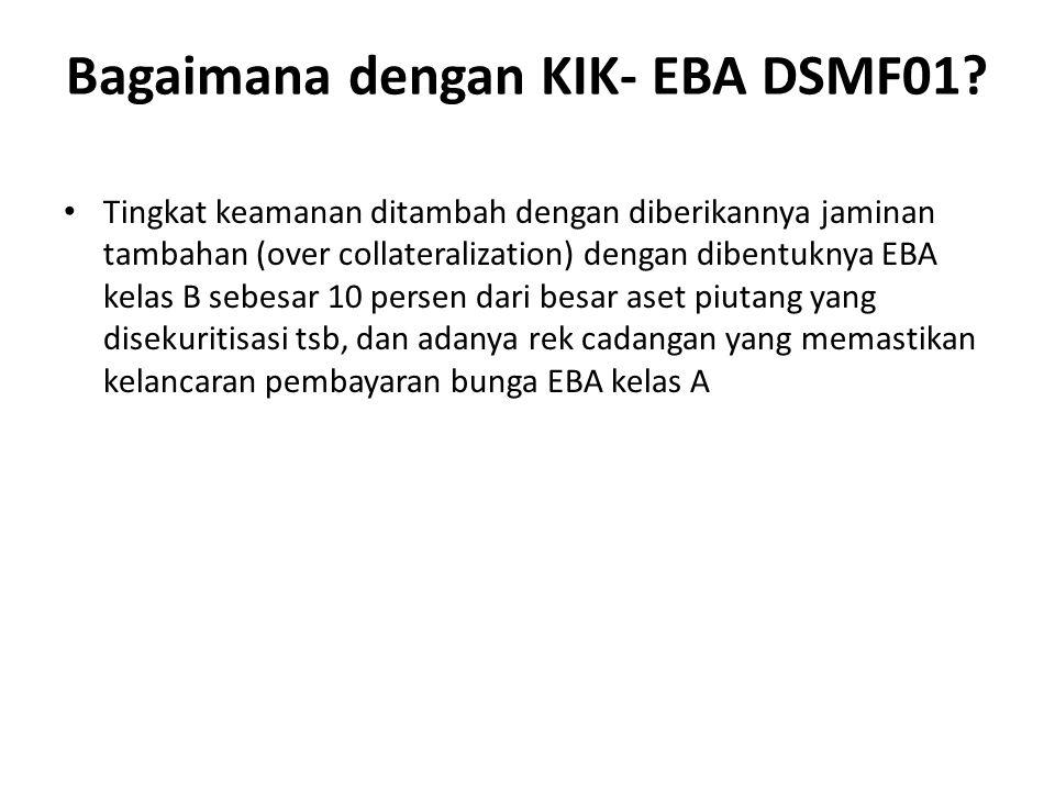 Tingkat keamanan ditambah dengan diberikannya jaminan tambahan (over collateralization) dengan dibentuknya EBA kelas B sebesar 10 persen dari besar aset piutang yang disekuritisasi tsb, dan adanya rek cadangan yang memastikan kelancaran pembayaran bunga EBA kelas A Bagaimana dengan KIK- EBA DSMF01?