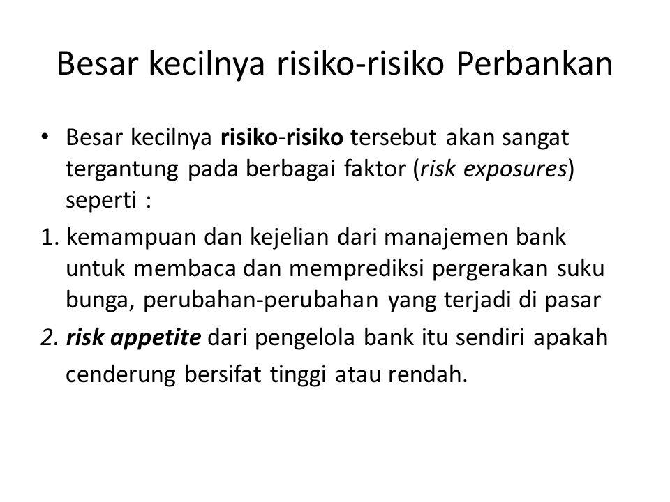Besar kecilnya risiko-risiko Perbankan Besar kecilnya risiko-risiko tersebut akan sangat tergantung pada berbagai faktor (risk exposures) seperti : 1.