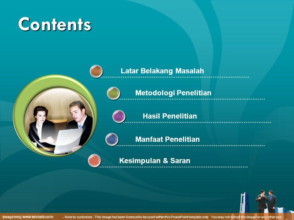 www.trungtamtinhoc.edu.vn Contents Kesimpulan & Saran Latar Belakang Masalah Metodologi Penelitian Hasil Penelitian Manfaat Penelitian [Image Info] www.wizdata.co.kr - Note to customers : This image has been licensed to be used within this PowerPoint template only.